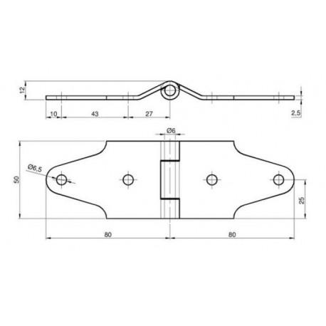 Charnière centrale pour porte relevante-T990013