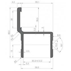 Profil Alu d'encadrement largeur 30.5 Avec battue - D000221