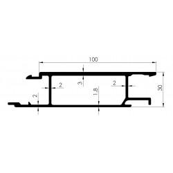 Profil INTERMEDIAIRE 100mm Ep 30mm - D800030