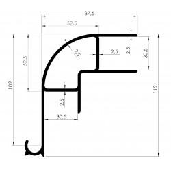 Profil d'Angle SUPERIEUR Ep 30mm, Gouttière Intégrée - D800080