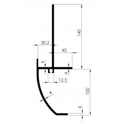 Profil de Rive ARRONDI avec Gorge Attache-Câbles - D800090